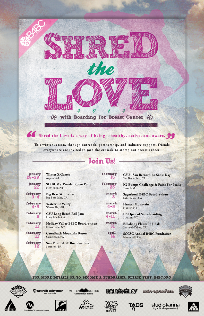 "Boarding for Breast Cancer ""Shred the Love"" Poster"