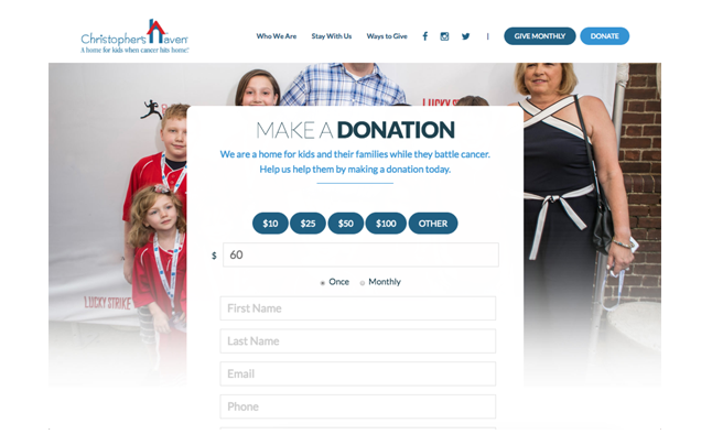 nonprofit-donation-plugin-on-wordpress-classy-integration-by-mittun-christophers-haven-example-2